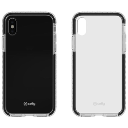 Celly Hexagon iPhone X / XS suoja, Clear Black