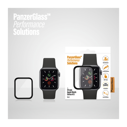 PanzerGlass Apple Watch S4/S5/S6/SE 44 mm -panssarilasi, Mustat reunat
