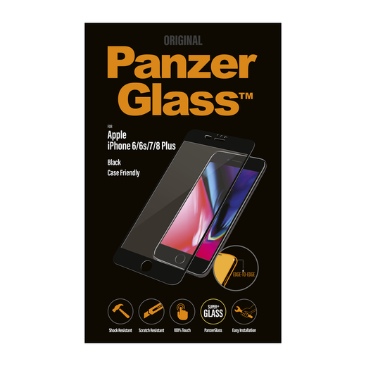 PanzerGlass iPhone 6 Plus / 6s Plus / 7 Plus / 8 Plus Case Friendly -panssarilasi, koteloihin sopiva