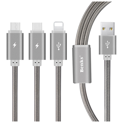 Benks 3-in-1 Type-C, MicroUSB, Lightning -kaapeli