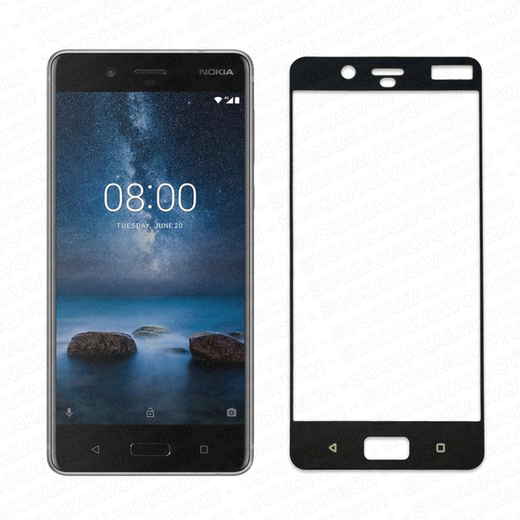 Nokia 8 panssarilasi, 2.5D Full Cover Tempered Glass