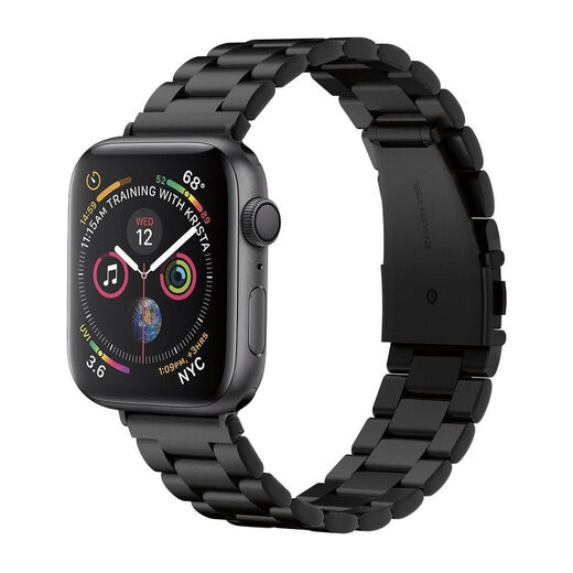 Spigen Modern Fit Band Apple Watch S4/S5/S6/SE 44 mm ranneke, Ruostumaton teräs musta