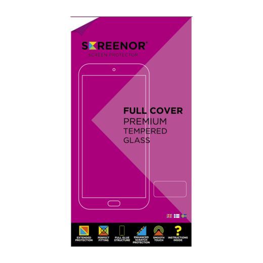 Screenor OnePlus 6T / OnePlus 7 Premium-panssarilasi, Full Cover, musta