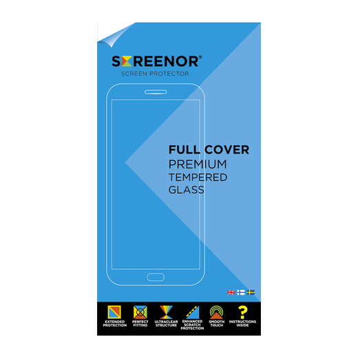 Screenor iPhone X /XS Premium-panssarilasi, Full Cover, musta