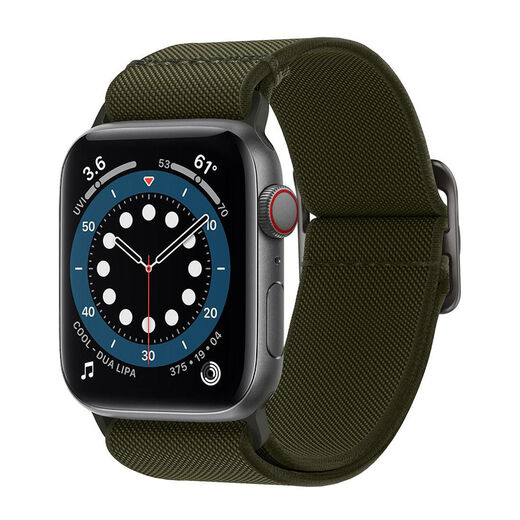 Spigen Fit Lite Strap Apple Watch S4/S5/S6/SE 44 mm ranneke, Khaki Green