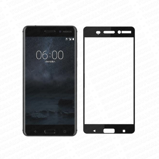 Nokia 6 panssarilasi, 2.5D Full Cover Tempered Glass